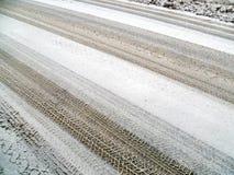De winter, sneeuw op de weg Royalty-vrije Stock Foto's