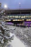 De winter snow-covered cityscape Moskou, Rusland Stock Foto's