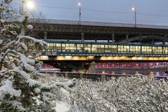 De winter snow-covered cityscape Moskou, Rusland Royalty-vrije Stock Fotografie