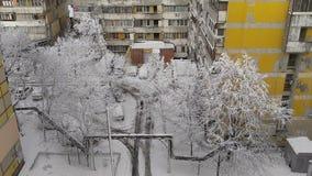 De winter in de stad stock videobeelden