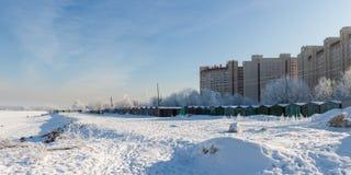 De winter in stad Stock Afbeeldingen