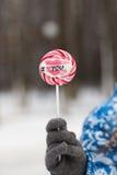 De winter, suikergoed in de handen Stock Foto