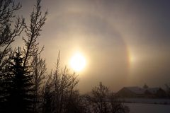 De winter Sundog in Calgary Stock Afbeelding