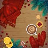 De winter traditionele Achtergrond De spar van Kerstmiselementen royalty-vrije illustratie