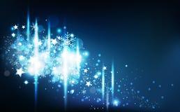 De winter, vallende sterren verspreidt de confettien en de sneeuwvlokken het gloeien van de flikkeringsdecoratie van het vierings vector illustratie
