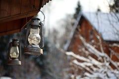 De winter van de lantaarn Stock Foto