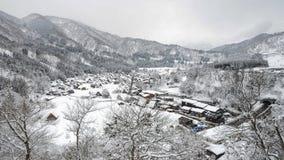 De winter van Shirakawago met Sneeuwval Gifu Chubu Japan Stock Foto's