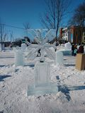 De winter van sneeuwvlokskulpture stock foto's