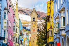 De winter van Vipitenosterzing - de provincie van Bolzano - het gebied van Trentino Alto Adige - Italië royalty-vrije stock afbeeldingen