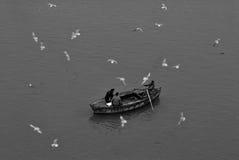 De winter in Varanasi Stock Afbeeldingen
