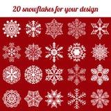 De winter vastgestelde vectorillustratie van de sneeuwvlok Royalty-vrije Stock Afbeelding