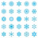 De winter vastgestelde vectorillustratie van de sneeuwvlok Royalty-vrije Stock Afbeeldingen