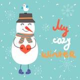 De winter vectorillustratie met sneeuwman en vogel Stock Foto's