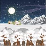 De winter vectorlandschap Bergen, huizen en bos in de sneeuw Sterrige nachthemel Grote volle maan vector illustratie