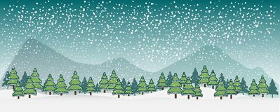 De winter vectorlandschap met silhouetten van bomen en bergen Vector illustrator vector illustratie