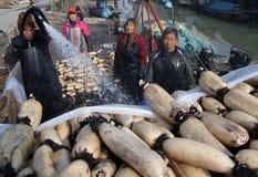 In de winter verdienen de arbeiders hun hard geld in de vijver Stock Fotografie