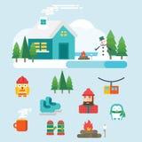 De winter verwante pictogrammen en illustraties Stock Fotografie