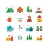 De winter verwante pictogrammen en illustraties Stock Afbeeldingen