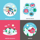 De winter 4 Vlakke Pictogrammen Vierkante Banner Stock Fotografie