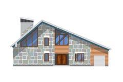 De winter wodden, baksteen, groot huis of hotel Met sneeuwdak Royalty-vrije Stock Afbeelding