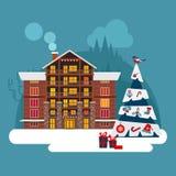 De winter wodden, baksteen, groot huis of hotel Met sneeuwkerstmis RT Royalty-vrije Stock Foto's