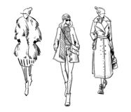 De winter ziet eruit Manierillustratie, vector zwart-witte schets stock illustratie
