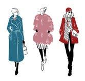 De winter ziet eruit Manierillustratie, vectortekening stock illustratie