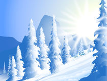 De winter zonneschijn-Vector Illustratie Stock Afbeeldingen