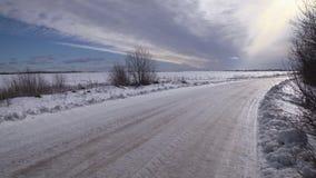 De winter zonnig landschap stock footage
