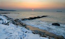 De winter de Zwarte Zee stock afbeelding