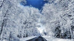 De winteraandrijving Stock Foto's