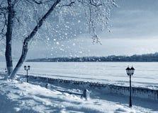 De winteraard, kust van rivier Stock Foto