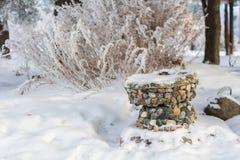 De winteraard op een Zonnige dag Stock Foto's