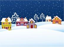 De winterachtergrond met beeldverhaalhuizen royalty-vrije illustratie