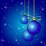 De winterachtergrond met blauwe Kerstmisballen. Vecto Stock Afbeelding