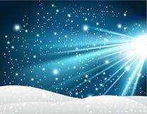 De winterachtergrond met glanzend blauw licht vector illustratie