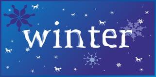 De winterachtergrond met paard 2014 royalty-vrije illustratie