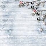 De winterachtergrond met vorsttakken en bessen Met exemplaar-ruimte Stock Afbeeldingen