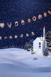 De winterachtergrond, Sneeuwman Royalty-vrije Stock Foto