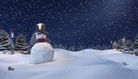 De winterachtergrond, Sneeuwman Royalty-vrije Stock Afbeelding