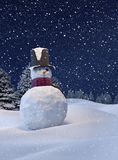 De winterachtergrond, Sneeuwman Stock Foto