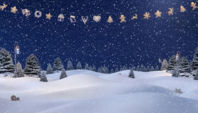 De winterachtergrond, Sneeuwman Stock Fotografie