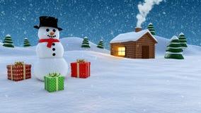 De winterachtergrond van de sneeuwman Stock Afbeeldingen