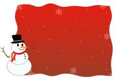 De winterachtergrond van de sneeuwman Royalty-vrije Stock Afbeeldingen