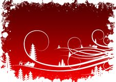 De winterachtergrond van Grunge met sparrensneeuwvlokken en Kerstman Clau stock illustratie