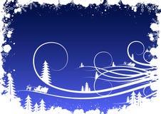 De winterachtergrond van Grunge met sparrensneeuwvlokken en Kerstman Clau Royalty-vrije Stock Fotografie