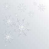 De winterachtergrond van sneeuwvlokken in witte en blauwe kleuren Stock Afbeelding
