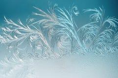 De winterachtergrond, vorst op venster Stock Fotografie