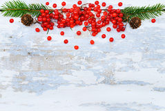 De winterachtergrond - Witte Sneeuw Houten Textuur met Rode Bes Royalty-vrije Stock Afbeeldingen