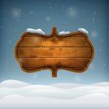 De winteravond met Houten Raad Royalty-vrije Stock Afbeeldingen